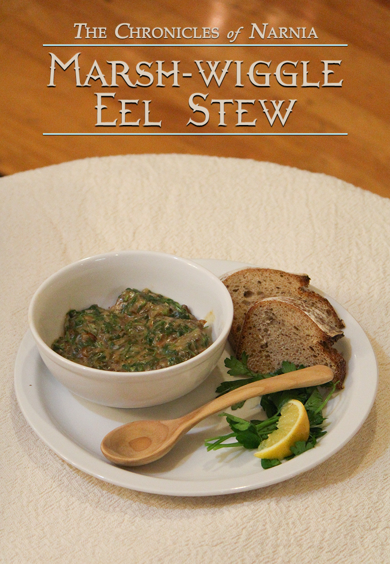 Marshwiggle eel stew - a fresh and green-tasting dinner that can be adapted for many sorts of fish