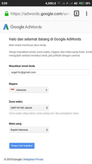 Formulir Pendaftaran Google Adwords Gratis