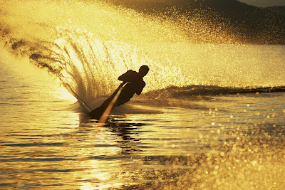 Blindfolded waterskiing