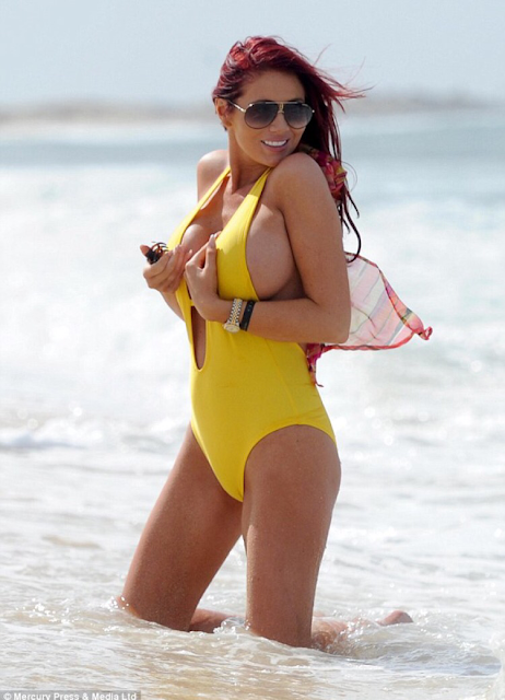 Amy Childs hot pics in yellow bikini