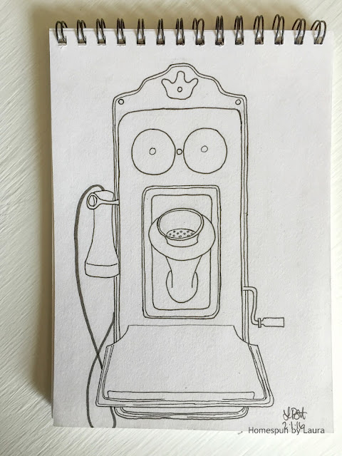 homespun by laura daily doodle pen drawing antique wall phone
