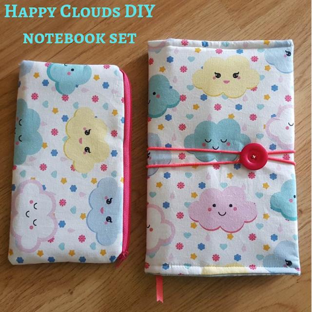 Happy clouds DIY notebook and pencil case set