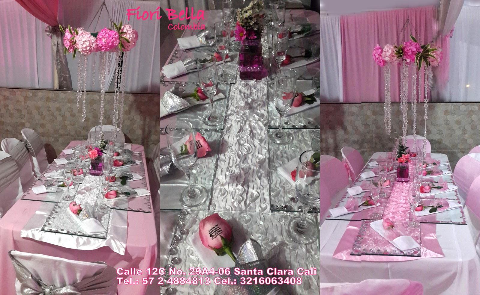 Decoracion 15 a os rosa centros de mesa colgantes for Decoracion de pared para quince anos