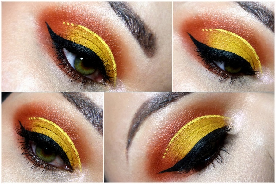 intensiver makeup look orange gelb