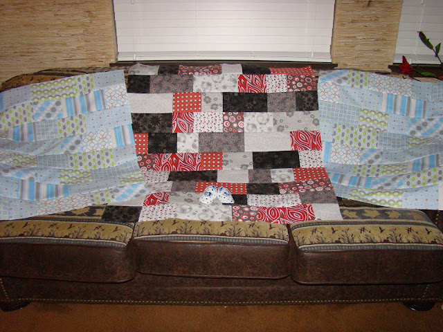 Red and black bricks quick and easy baby quilt