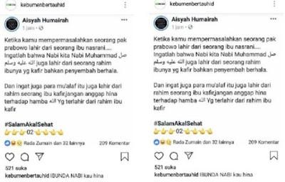 Hanya untuk Bela Prabowo, Akun Aisyah Humairah Kafirkan Ibunda Nabi Saw