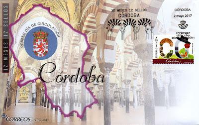 Sobre primer día Córdoba, 12 sellos, 12 meses, 12 provincias