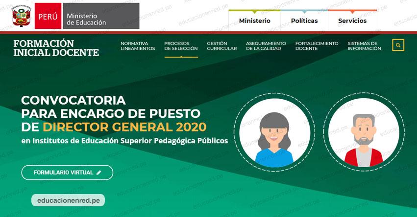 MINEDU: Abren inscripciones virtuales para postular a director general de IESP - www.minedu.gob.pe