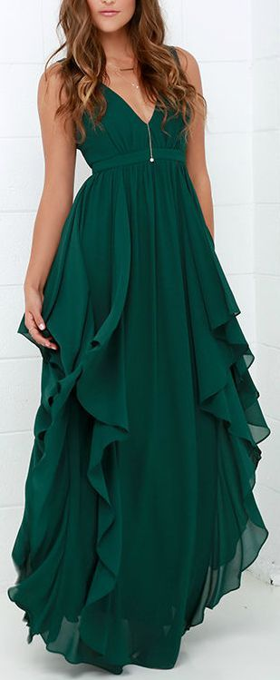 Most Beautiful Dark Green Maxi