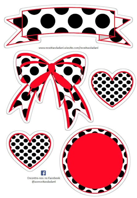 Free Printable Sweet 16 Cake Toppers in White, Red and Black Polka Dots.