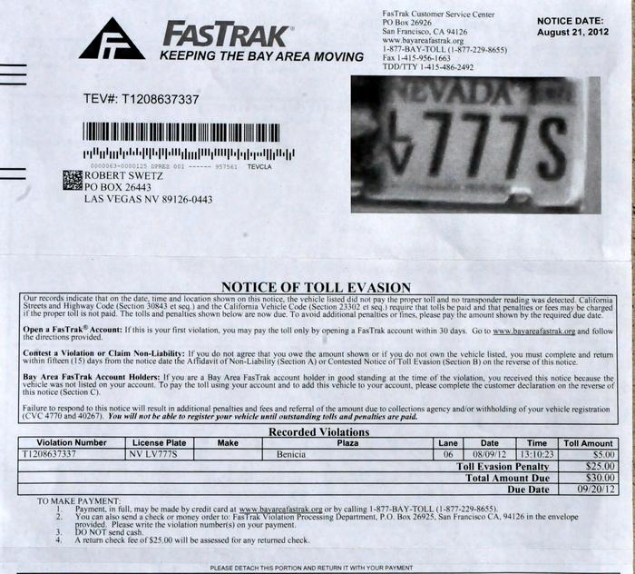 FASTRAK Toll Bridge Scam Rip-off San Francisco CA USA 8-29-2012