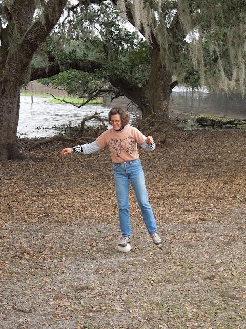 Elena standing on an ostrich egg