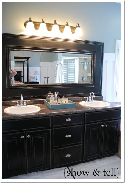 I Found A Great Tutorial At Show Tell On Custom Framing Your Bathroom Mirrors Basically You Take Some Crown Molding And Or Baseboard Trim Measure It