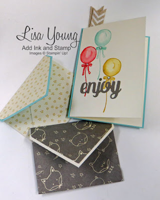 Stampin' Up! Honeycomb Happiness stamp set. Envelope Punch board gift card envelopes. Handmade by Lisa Young, Add Ink and Stamp