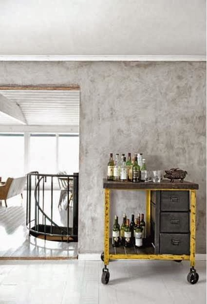 Bar cart on wheels