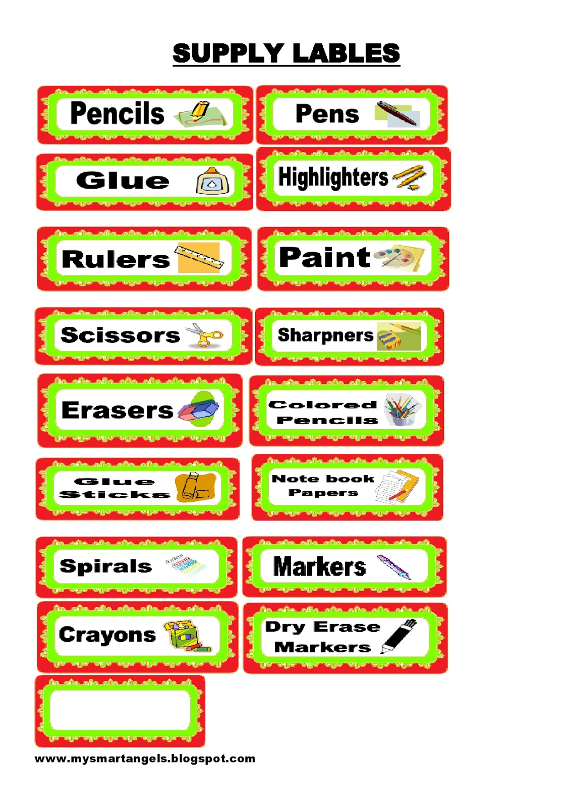 Kinder Smart Work School Supply Labels