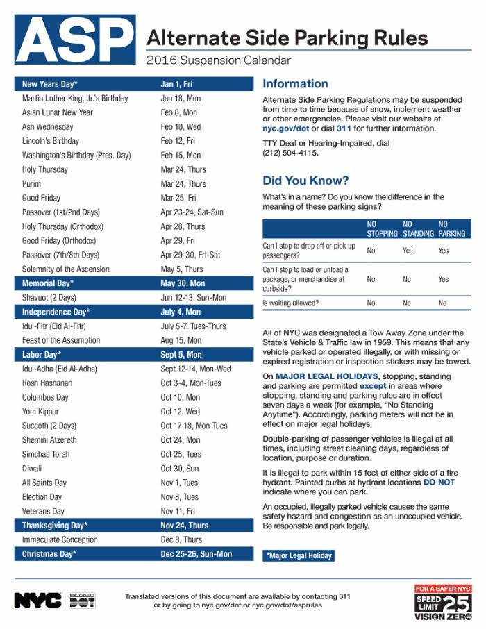 Alternate Side Parking Regulations Calendar 2016