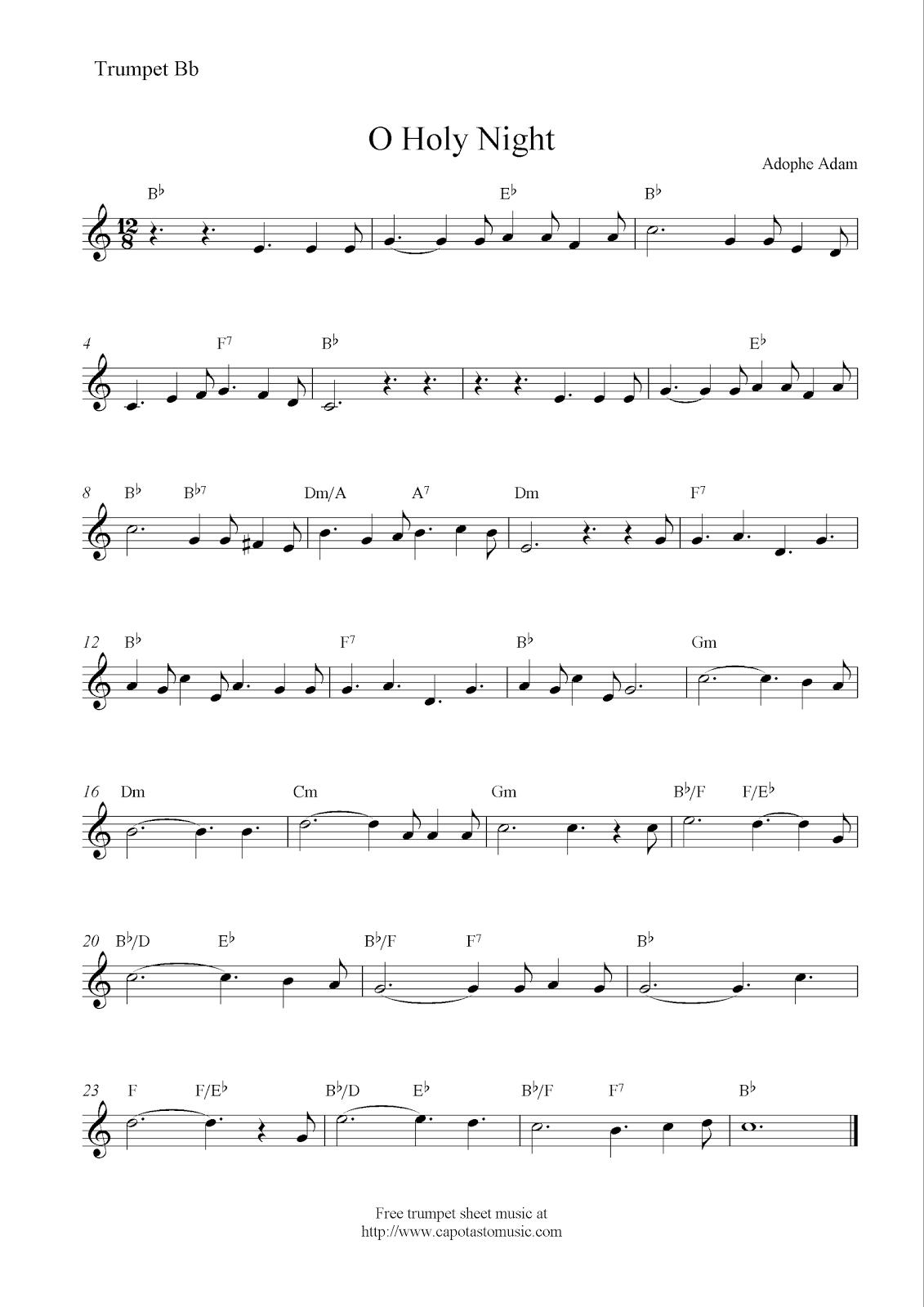 image about Free Printable Sheet Music for Trumpet named O Holy Evening, absolutely free Xmas trumpet sheet audio notes