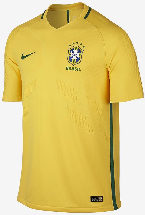 53783eb412 A camisa titular é segue o padrão tradicional sendo predominantemente  amarela com detalhes em verde na gola e nas laterais do modelo.