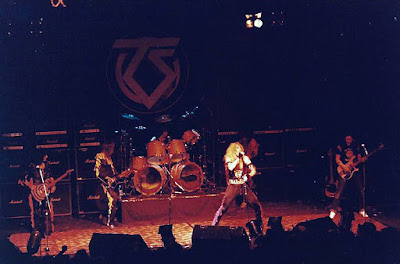 Twisted Sister on stage at the Lyceum Ballroom April 19, 1983 with Lemmy