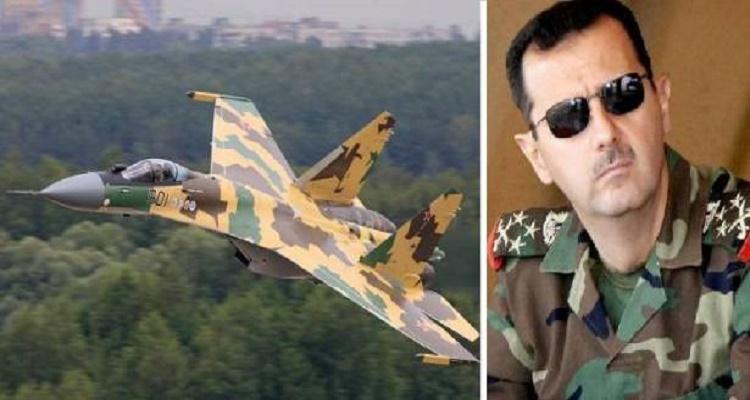 مفاجأة كبرى   شاهد كيف حلق بشار الأسد بطائرة سوخوي فوق حلب