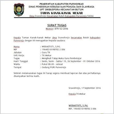 contoh surat tugas dari kepala sekolah