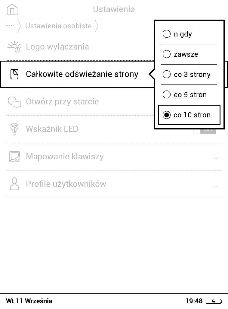 PocketBook Basic Lux 2 – ustawienia częstotliwości pełnego odświeżenia strony