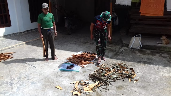 Pratu Febri, Satgas TMMD ke 104 Kodim /Kerinci Membantu Warga Menjemur dan Mengangkat Kulit kayu Manis