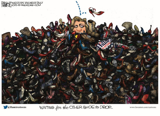 Waiting for the Other Shoe to Drop by Michael Ramirez @Ramireztoons