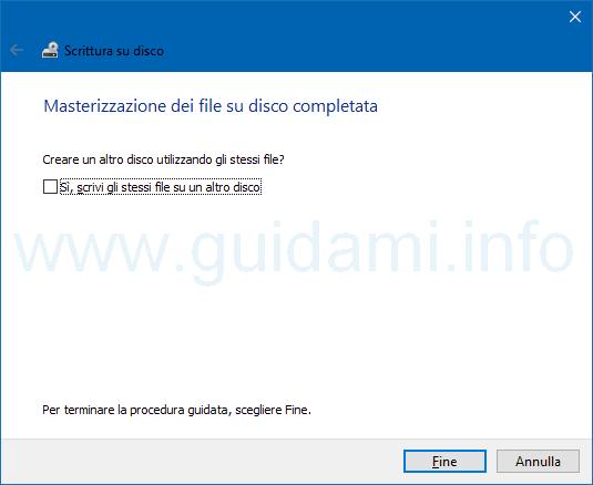 Ultima finestra strumento masterizzazione Windows 10