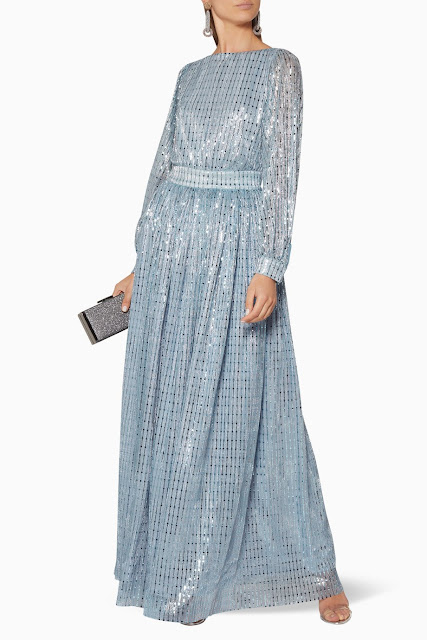 Light-Blue Embellished Gown 1950 AED