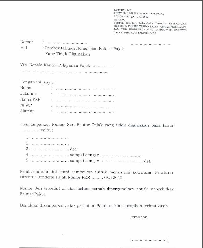Contoh Surat Permintaan Faktur Pajak 2016