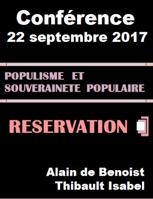 Populisme et souveraineté populaire : conférence Alain de Benoist et Thibault Isabel