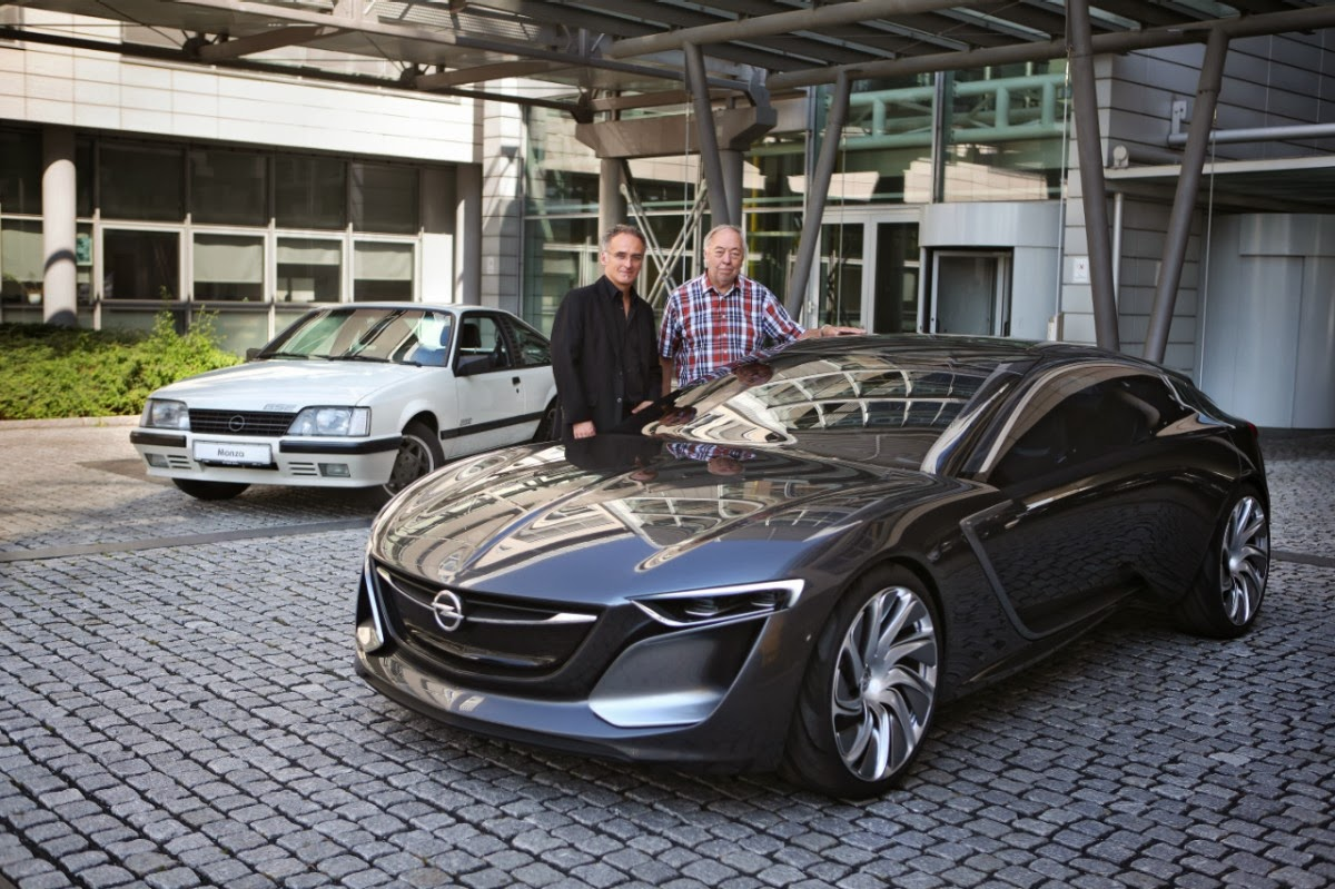 Friedhelm engler on left with his opel monza concept with george gallion in front of his opel monza gse