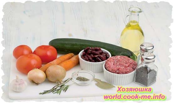 нгредиенты для Айнтопфа с фасолью и помидорами в мультиварке