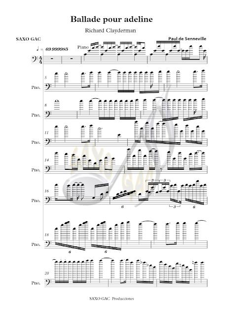 Balada para Adelina Partitura en clave de Fa en 4º para trombón, chelo, fagot, tuba, bombardino...