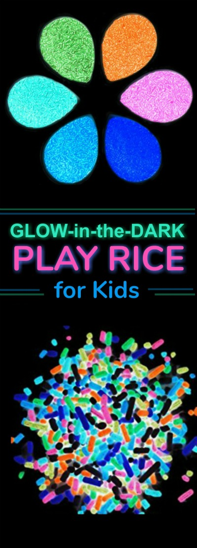 PLAY RECIPE FOR KIDS: Make your own glow-in-the-dark neon rice. #playrecipesforkids #playrecipes #glowinthedarkcrafts #glowinthedarkactivities #artsandcraftsforkids #activitiesforkids #craftsforkids #glowrice