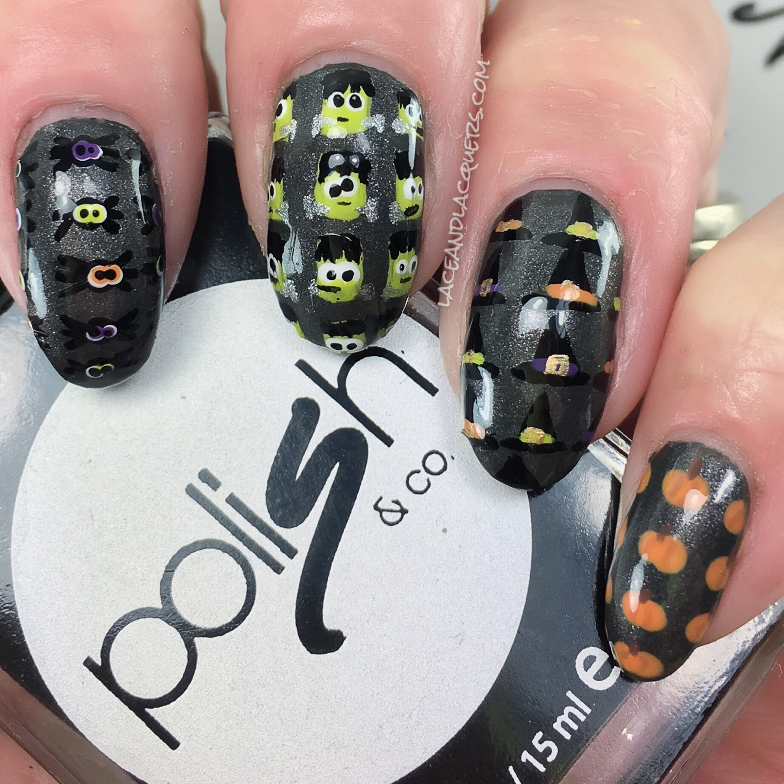 Lace and Lacquers: Spider, Frankenstein, Witch Hat and Pumpkin Nail Art