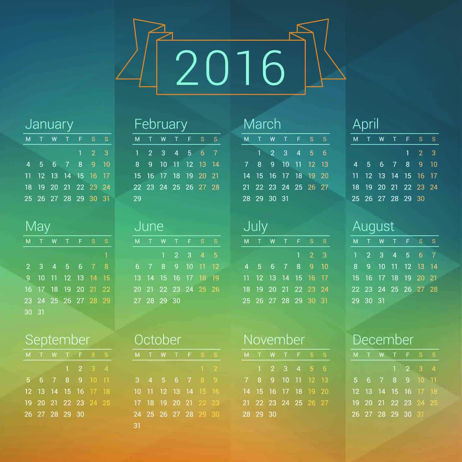 2015 2016 Calendar : 2015 カレンダー フリー : カレンダー