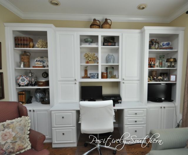 Built ins filled with antiques