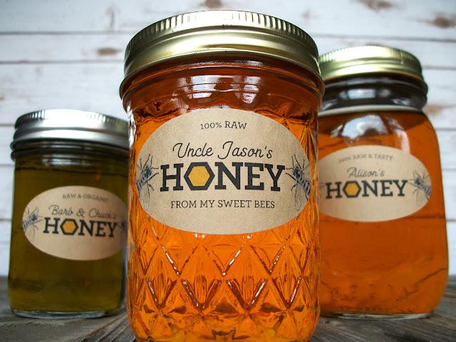 Custom Kraft Honeycomb Oval Honey Mason Jar Labels