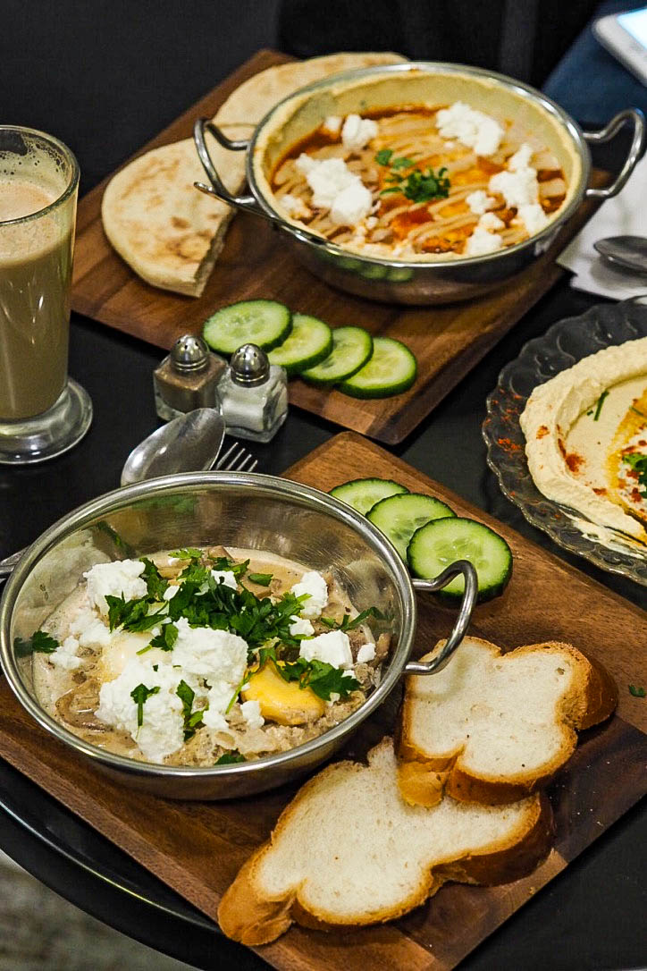 Traditional shakshuka and white shakshuka