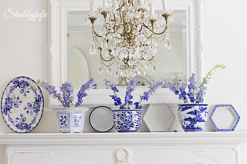 blue and white on mantel