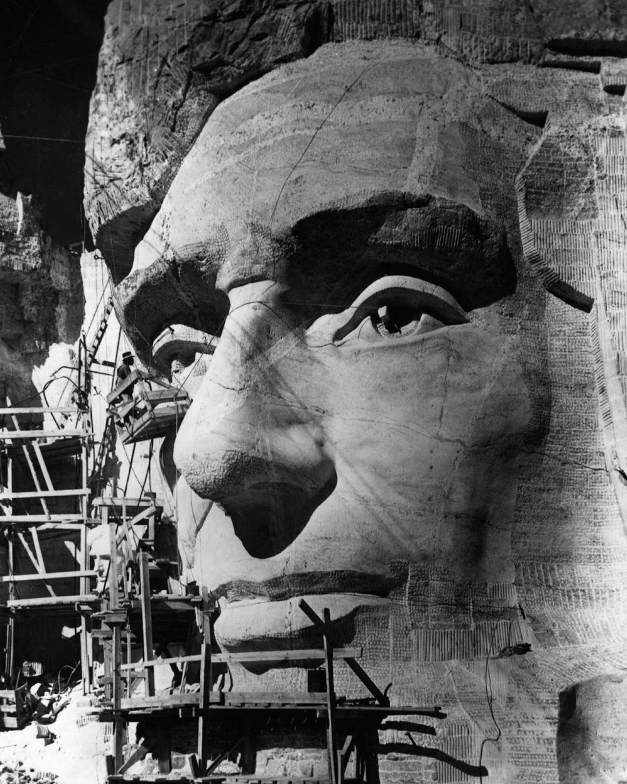 Borglum works on Abraham Lincoln's eye. 1937.