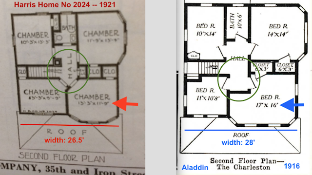 circled center section of Upstairs floor plans, CHWC 134 / Harris 2024 vs Aladdin Charleston
