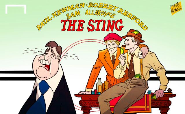 Sam Allardyce, Paul Newman, Robert Redford cartoon