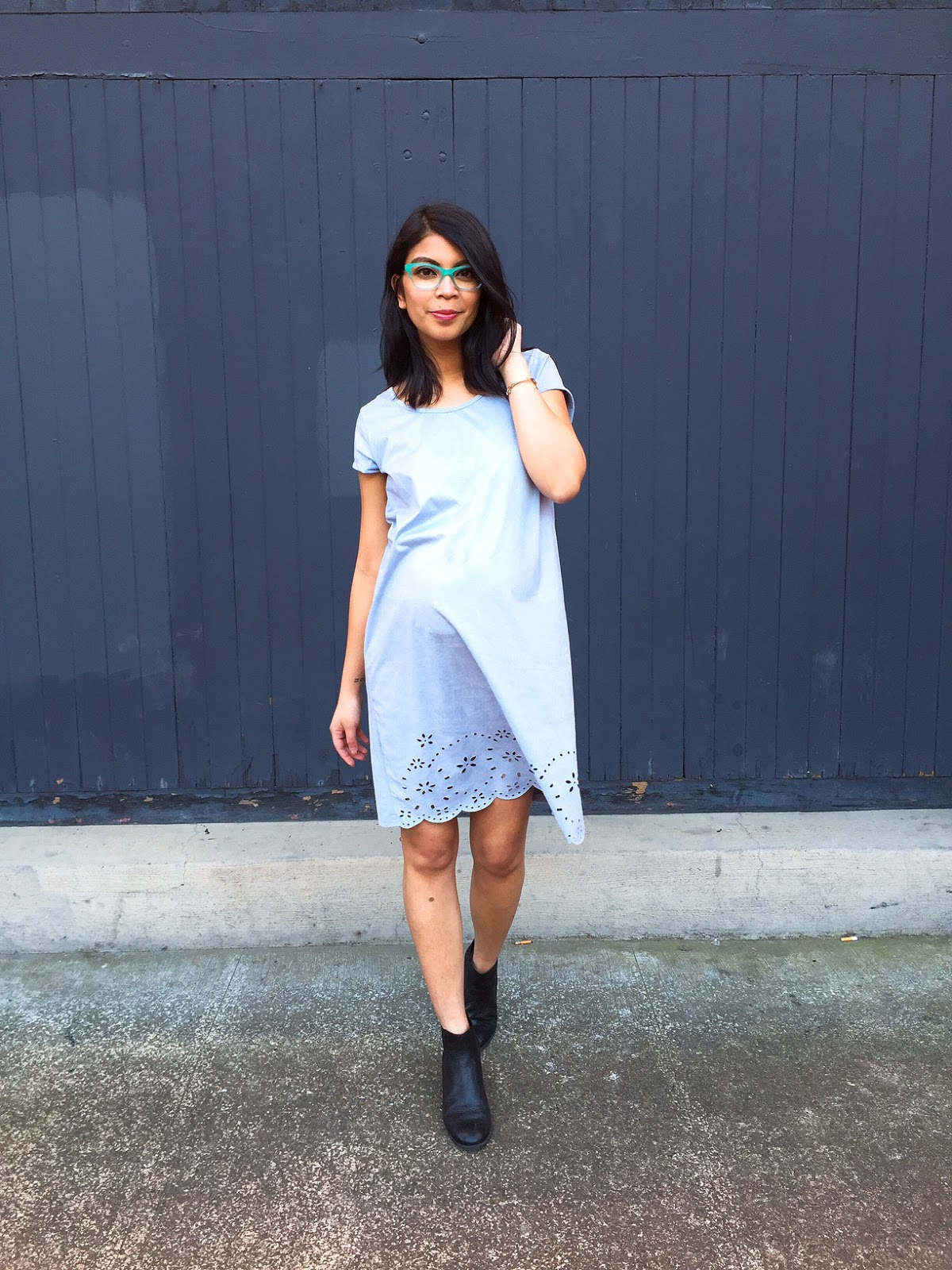 portland fashion blogger, the ptown girls, fblogger, pregnancy style, spectacle pdx, summer lookbook, blue suede dress, black booties, blue framed glasses