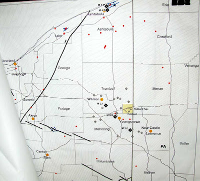 faults map show how earthquakes call for denial of fracking waste injection well, Hubbard Twp, Trumbull County, Ohio