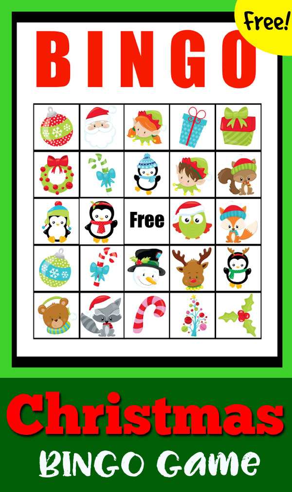 FREE printable Christmas BINGO Game for kids of all ages to play the classic game in celebration of the holidays. Kids will love the cute, wintery images. Great game to play in school or at home.