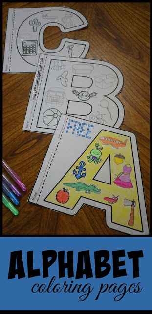 FREE alphabet coloring pages, alphabet posters, alphabet anchor charts, alphabet book for kindergarten